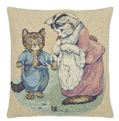 Tabitha Twitchet - Fine Woven Tapestry Cushion From Beatrix Potters timeless tales Fine Woven Tapestry Cushion finished with luxurious British velvet