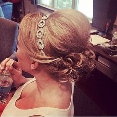 Updo perfection on our lovely #bride with a crystal headband. Hair & makeup by Updo's Studio. #gwmweddings #greensborowedding #greensboro www.gracefulweddingmanagement.com