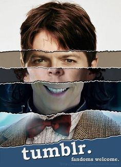 Tumblr fandoms, as represented by Harry's scar, Castiel's eyes, Sherlock's nose and cheekbones, Loki's smile, and the Doctor's bowtie.  -- When we come together, we become Kevin Bacon. <-- WE BECOME KEVIN BACON.