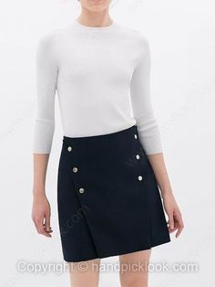 Navy Zipper Fly Button Embellished Skirt -$21.59