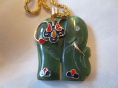 VNT.HAND CARVED SPINACH JADE CLOISONNE CHAMPLEVE ELEPHANT PENDANT/ GOLD PLATE