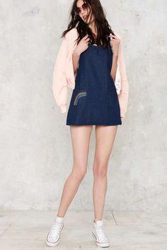 Motel Pocket a Rainbow Denim Dress - Sale: Newly Added | Day | Dresses | Denim