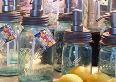 Vintage Blue Mason Jar Soap Dispenser Oil Rubbed Bronze Pump For Kitchen, Bath or Mud Room. $30.00, via Etsy.