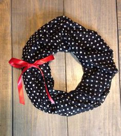 Black and White Polka Dot and Red Bow Infinity Scarf by KutKloth