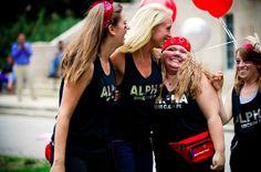 Alpha Omicron Pi at Ball State University #AlphaOmicronPi #AOII #BidDay #FannyPack #balloons #sorority #BSU