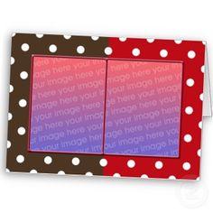 polka dots twin frame greeting card