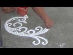 Beautiful Peacock Rangoli How to draw sanskar Bharati Rangoli Diwali Special Rangoli Design - YouTube