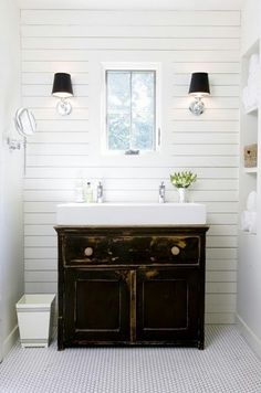 Meghan Stroebel Interiors: Brilliant Powder Room vintage reclaimed vanity white bathroom