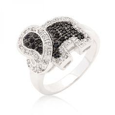 Black And White Cubic Zirconia Elephant Ring