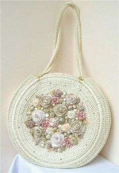 18598cc50db6 Beautiful crochet purse by master crocheter Svetlana Tregub. Round Crochet  Purse with Ribbon flowers & beads. This would be great if it had a pattern  ...