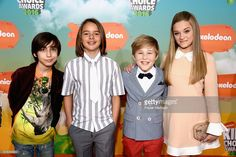 Actors Mace Coronel, Lizzy Greene, Casey Simpson and Aidan Gallagher attend Nickelodeon's 2016 Kids' Choice Awards at The Forum on March 12, 2016 in Inglewood, California.
