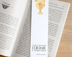 That's What I Do I Drink and I Know Things Tyrion Lannister Quote Bookmark - Game of Thrones Book mark - paper bookmark