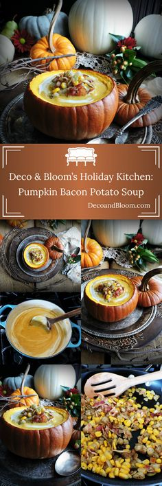 Deco & Bloom's Holiday Kitchen: Pumpkin Bacon Potato Soup From the Home Decor Discovery Community At www.DecoAndBloom.com