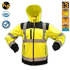 KwikSafety Class 3 High Visibility Safety Jacket, Ansi Reflective Soft Shell Jacket with Detachable Hood and Multiple Pockets, Construction, Motorcycle Hoodie Ansi/Isea 107-2010, Yellow, Size 2XL, Adult Unisex