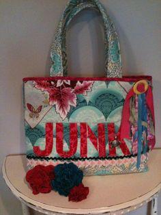 Junk bag tote sewing pattern  PDf download  www.jackieclarkdesigns.com