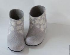 Купить Тапочки детские - шерсть 100%, домашние тапочки, домашняя обувь, обувь ручной работы
