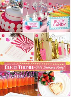 Fun ideas for a disco themed pre-teen birthday that includes a glitzy disco cake, dancing queen donuts, and glam treat bags for guests. #discothemedbirthdays #discothemedparty #preteenbirthdayparty