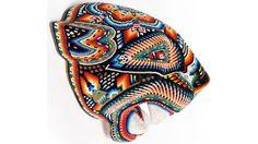 Huichol Jaguar Head Carved and Beaded by Santos Bautista | Huichol Jaguar Head
