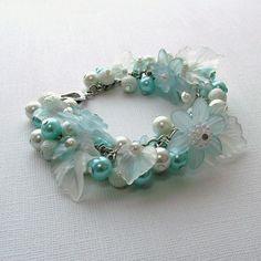 Blue and white pearl beaded bracelet cluster by jinjajewellery, £12.00