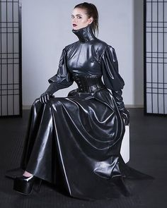 Latex Wear, Latex Dress, Sexy Latex, Latex Outfit, High Collar Blouse, Mode Latex, Rubber Dress, Latex Costumes, Leder Outfits