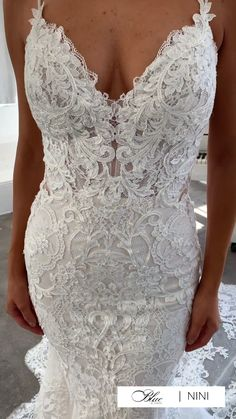 Backless Lace Wedding Dress, Top Wedding Dresses, Stunning Wedding Dresses, Lace Wedding Gowns, Bridal Dresses, Bridesmaid Dresses, Mermaid Silhouette, Lace Overlay Dress, Chantilly Lace