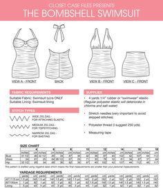 Bombshell swimsuit PDF Pattern. Vintage style. 3 variations: halter, maillot, high waist bikini