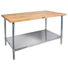 """Equip your kitchen with a premium food prep surface with this John Boos & Co. JNS1836 wood top work table with galvanized base and adjustable undershelf - 18"""" x 36"""". This impressive work table features a 1 1/2"""" thick, edge-grain northern hard rock maple flat top, ready to take on a variety of foodservice tasks in your commercial kitchen. The galvanized steel base, undershelf, and bullet feet offer a firm foundation and long-lasting durability for years to come. With the conveniently adjustab Kitchen Prep Table, Kitchen Island, Boos Blocks, Stainless Steel Fabrication, Thing 1, Wall Mounted Shelves, Commercial Kitchen, Wood Cutting Boards, Picture On Wood"""