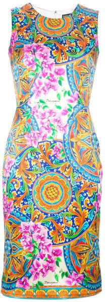 10bfb45a02 Dolce and Gabbana Floral Print Dress  Lyst Domenico Dolce