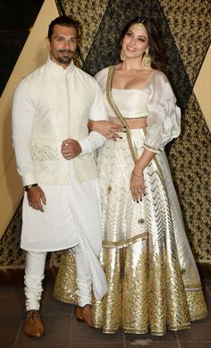 Power-couple Bipasha Basu and Karan Singh Grover were twinning in white at the wedding reception of Sakshi Bhatt and Mazahir. Bollywood Actress Hot Photos, Bollywood Fashion, Bollywood Stars, Indian Celebrities, Bollywood Celebrities, Bollywood Couples, Indian Wedding Outfits, Indian Outfits, Lehnga Dress