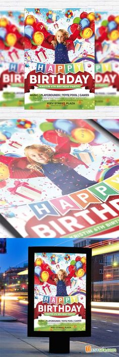 Flyer Template - Kids Happy Birthday + Facebook Cover