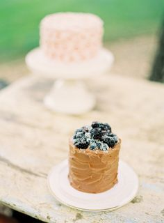 Tiny Rustic Chocolate Cake & Blackberries
