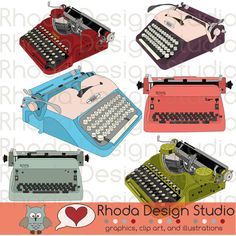 Vintage Typewriters Digital Clip Art Retro Corona, Royal, Voss. $7.95, via Etsy.