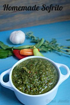 sofrito,, marinade, green seasoning Sofrito - the backbone of Latin Caribbean cuisine. Marinade & seasoning paste- used to add flavor to every meal. Puerto Rican Recipes, Mexican Food Recipes, Ethnic Recipes, Sauce Recipes, Cooking Recipes, Healthy Recipes, Herb Recipes, Healthy Breakfasts, Cooking Tips