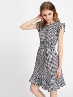 Gingham Frill Trim Self Tie Dress -SheIn(Sheinside)