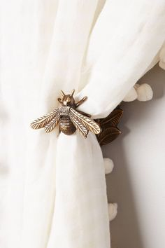 SHOP THE PIN - Anthropologie Home Curtain Tieback, gold bee accessories for home decor bedroom boho interior design living room decoration cute Home Decor Accessories, Decorative Accessories, Clothing Accessories, Women's Clothing, Curtain Ties, Curtain Holder, Curtain Pull Backs, Tie Backs For Curtains, Curtain Tie Back Hooks