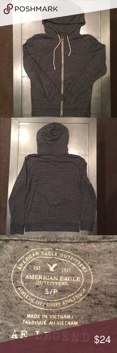 American Eagle men's lightweight hoodie.   Size S Comfy American Eagle men's lightweight hoodie. Light heather gray. AE Legend. Zip up.  Pockets. Cotton/poly. Feels like a tee shirt.  It is not a sweatshirt. Size Small. Gently worn. Looks perfect! American Eagle Outfitters Shirts Sweatshirts & Hoodies