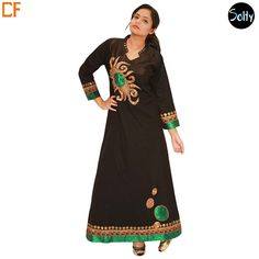 Elegant Black Printed Kaftan in cotton material, full-length, long sleeves, notched stand up collar. The Kaftan is a perfect blend of class and elegance, with subtle gold detailing on the collar, gold and green broad panel along the cuffs and hemline, and abstract design on the front panel and slight thread work. http://www.droomfashion.com/shop/kaftans/elegant-black-printed-kaftan/