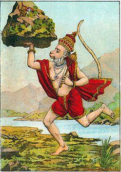 Raja Ram Mohan Roy's lithograph of Hanuman fetching the mountain
