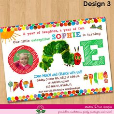 Very Hungry Caterpillar Invitation - Printable First Birthday Party Invite - Custom Personalized Digital Photo Card 4x6 or 5x7