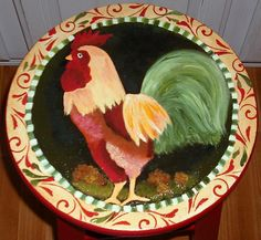 rooster stool spanish flare by Cheryl Hoppe-The-Painted-Rooster, via Flickr