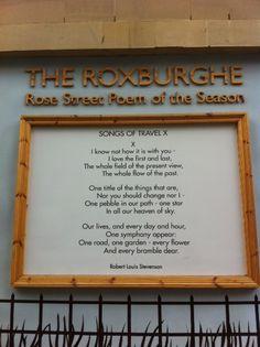 Rose Street, city of culture R. R L Stevenson, Robert Louis Stevenson, Rose Street, Hot Tubs, Edinburgh, Birth, Poems, The Past, Culture