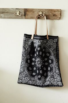 Bandana Tote Bag w/ natural leather straps by TheFamilyTradingCo