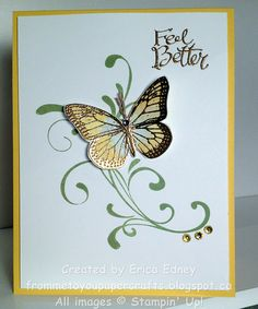 Stamp Sets: Everything Eleanor, Best of Butterflies, Sassy Salutation Card Stock: Daffodil Delight, Whisper White, watercolour paper Ink Pads: Daffodil Delight, Pear Pizzazz, Gold  Embellishments: Linen Thread, Rhinestones coloured with Blendabilities