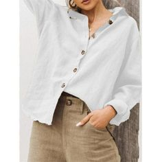 Button Lapel Long Sleeve Cotton Shirt for Women can cover your body well, make you more sexy, Newchic offer cheap plus size fashion tops for women. Tie Dye Long Sleeve, Long Sleeve Shirts, Casual T Shirts, Casual Tops, Fashion Mode, Fashion Outfits, Cotton Jacket, Blouse Styles, Shirt Style