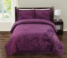 """8Pcs Queen Dahlia Spa Flocking Bed in a Bag Set by KingLinen. $79.99. Grand dahlia floral flocking on purple ground. A classic set for any bedroom.FeaturesColor: PurpleSize: Queen100% PolyesterMachine Washable This set includes:1 Comforter (86""""x86"""")2 Shams (20""""x26""""+2"""")1 Bed Skirt (60""""x80""""+14"""")Plus 300 Thread Count Cotton Sheets:2Standard pillowcases (20"""" x 30"""")1Queen flat sheet (90"""" x 102"""")1Queen fitted sheet (60"""" x 80"""" x 14"""" pocket depth). Save 75% Off!"""