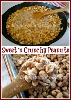 The Country Cook: Sweet & Crunchy Peanuts {simple but SO good, these will go fast! Peanut Recipes, Sweet Recipes, Snack Recipes, Cooking Recipes, Easy Recipes, Easy Snacks, Easy Meals, Yummy Treats, Yummy Food