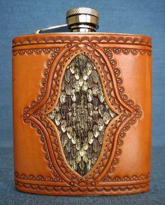 8 oz Snakeskin Tooled Leather Flask by HorseshoeSaddlery on Etsy, $70.00