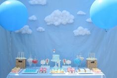 Hot Air Balloon First Birthday Party Dessert Table