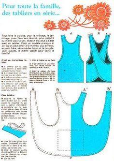 Tutorial: apron  sewing pattern. idee tablier pour les petits                                                                                                                                                                                 Plus