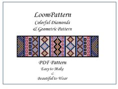 Beautiful Diamond & Geometric Design - Beaded Loom Pattern for Delica or Toho Seed Beads -Tutorial for Bracelet or Bookmark - Easy to Make by BonniesBeadBarnetc on Etsy https://www.etsy.com/uk/listing/259973969/beautiful-diamond-geometric-design